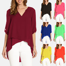 2019 Women Blouses Summer Elegant Irregular V-Neck Chiffon blouse soft Casual Three Quarter Sleeve Solid Tunic Top loose Shirts(China)