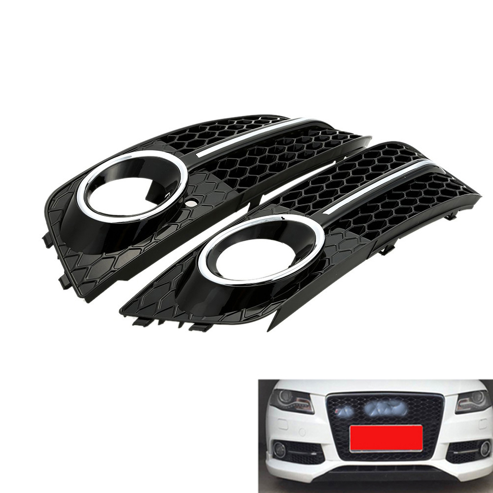 1 Pair Fog Light Cover Grille Grill For <font><b>Audi</b></font> <font><b>A4</b></font> B8 RS4 2008-<font><b>2012</b></font> Car Front Bumper Light Grills in Racing Grills Auto Accessories image