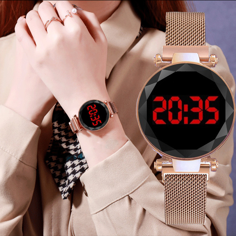Luxury LED Women Watches Electronic Magnetic Rose Gold Watch Digital Sport Quartz Wristwatch Ladies Clock Gifts Relogio Feminino