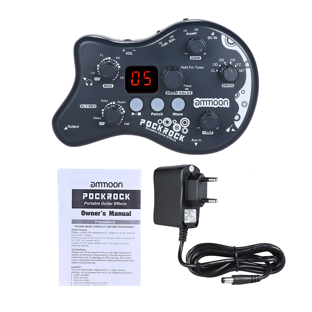 Ammoon PockRock Multi-effects Processor Guitar Effect Pedal 15 Effect Types 40 Drum Rhythm Tuning Function With Adapter