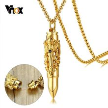 Vnox Can Open Hollow Heavy Bullet Pendant For Men Necklaces Filigree Crafts Stainless Steel Urn Memorial Punk Gothic Male Jewels(China)