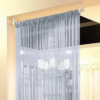 100x200cm Shiny Flash Silver Classic Line Curtain Window Door Divider Sheer Curtain Room Divider Door Decorative 1