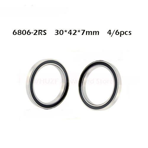 4/6PCS 6806-2RS Bearing 30x42x7mm ABEC-1 Thin Section 6806 2RS Ball Bearings 6806RS 61806 RS