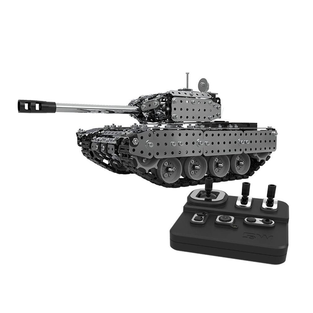 952 pièces 2.4G RC réservoir militaire bricolage ensemble d'assemblage en acier inoxydable télécommande modèle jouet intégré 3.7V 300MAh batterie au lithium