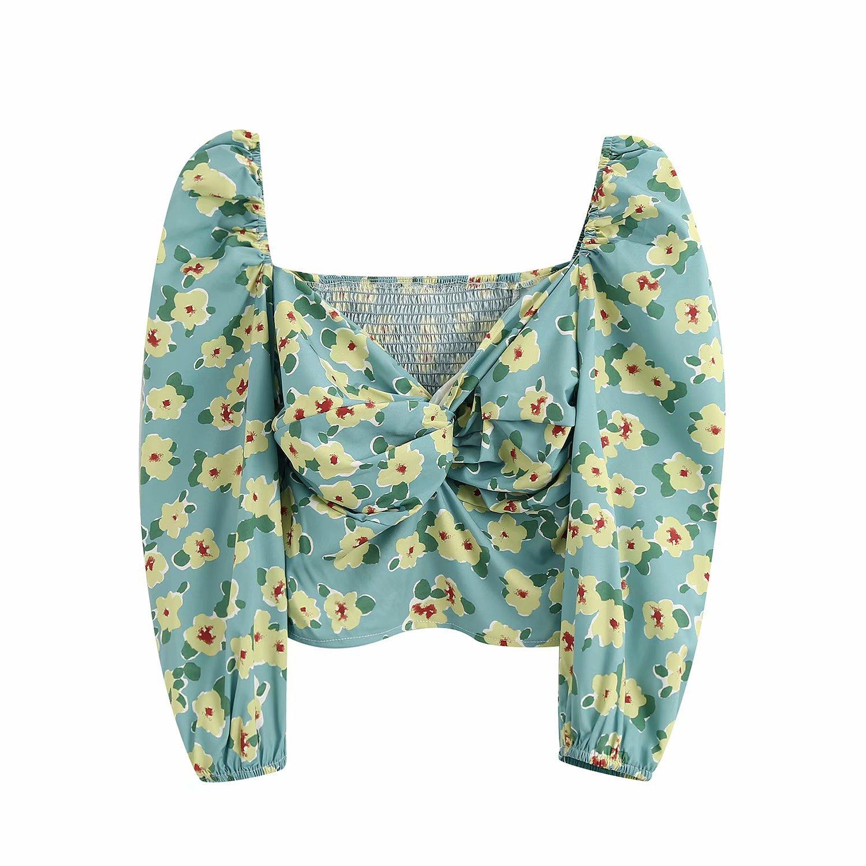 2020 Blouse Women Plus Size Vintage Tops Clothes Green Flower Print Zaraing Women Blouse Shirt Sheining Vadiming Female Bgb2237