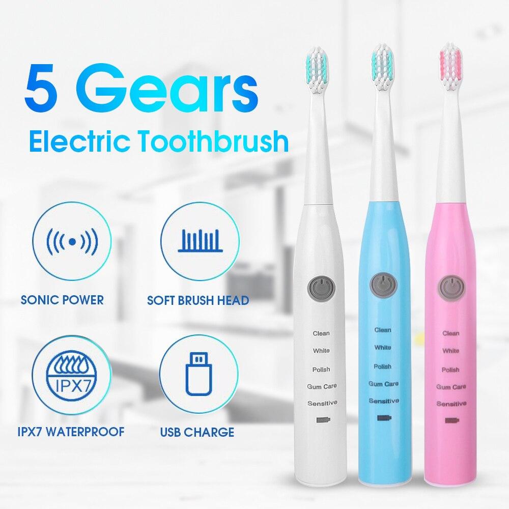 Электрическая зубная щетка перезаряжаемая купить одну получить четыре Бесплатные головки звуковая зубная щетка 5 режимов дорожная зубная щетка с 4 головками в подарок