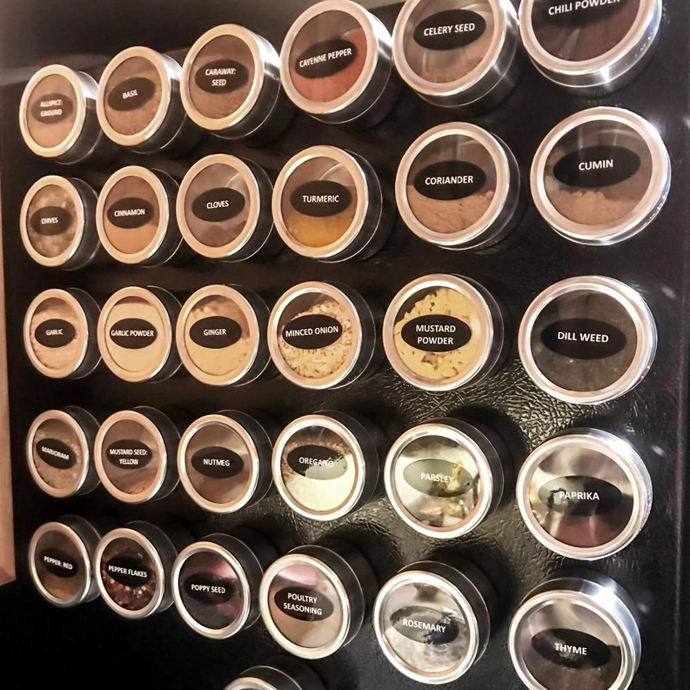 Top-Lid Storage Grill Refrigerator Magnetic Spice Tins with Clear Sift Pour on And 12-Pack title=