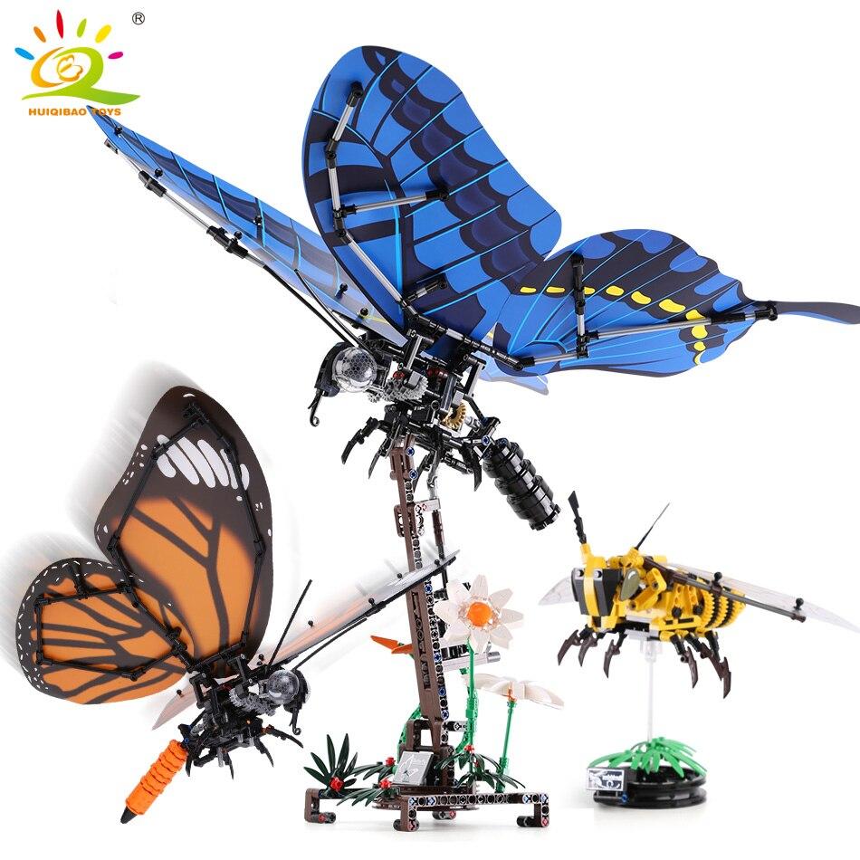 Bloques de construcción de mariposa de abeja de insectos simulados compatibles con legotechnic animales ciudad ladrillos juguetes educativos para niños