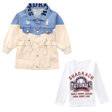 цена Spring Autumn Boys Waterproof  Denim Jackets kids jeans coat Children splice Outerwear clothing boy sport Clothes For 4-12T kids онлайн в 2017 году