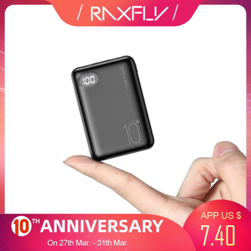 RAXFLY Mini Power Bank 10000 MAh Three Input Digital Display Bateria Externa Mobile For Xiaomi IPhone Powerbank Portable Charger