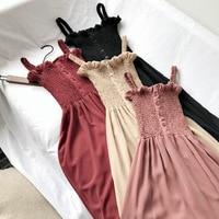 2019 Summer Underwear New Style Elegant Versatile Frilled Pleat Tube Top Camisole Mid length Dress