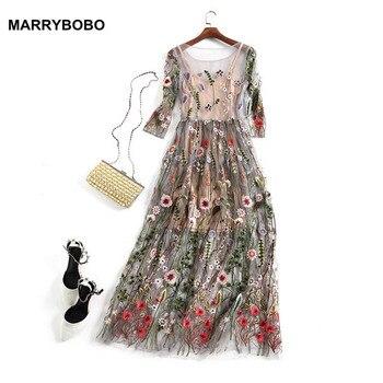 Las mujeres del bordado Vestidos de fiesta Boho Vintage de malla de Vestidos 2019 manga larga elegante flor bordado vestido Midi Vestidos