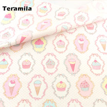 Cotton fabric pink icecream sewing cloth cover home textile
