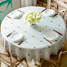 American large round tablecloth, cotton and linen table cloth, home European rectangular tablecloth