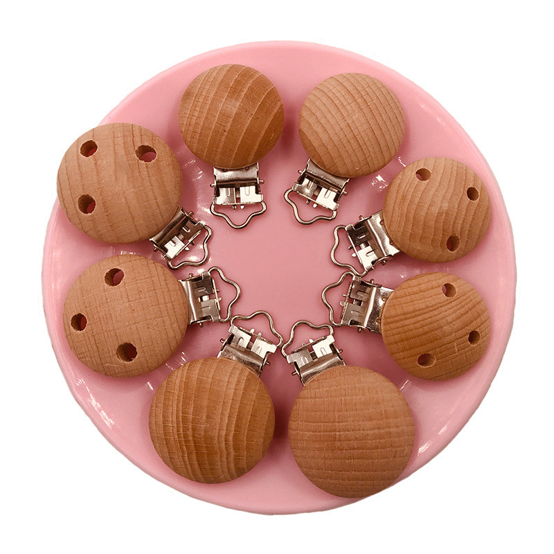 1Pcs Solid Color Beech Round Shaped Pacifier Clip Wooden Bead Baby Teether & Wooden Teething Accessories Clip Nipple Clasps Toys