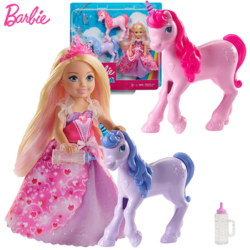 Original Barbie Dreamtopia Dolls for Girls Gift Toys Chelsea Baby Doll Unicorns Princess Dress Accessories Toy for Children Care недорого