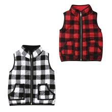 Осенний свитер для девочек от 1 до 6 лет, одежда клетчатая куртка на молнии, жилет, пальто, верхняя одежда
