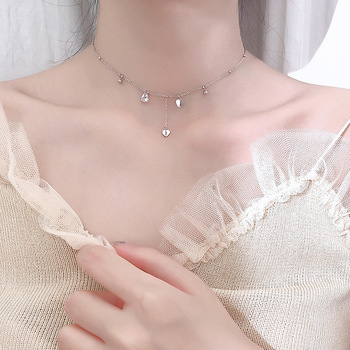 Silver Plated Heart-Shaped Tassel Necklace Fashion Simple Zircon Short Clavicle Necklace For Women Choker Collar vintage faux leather x shaped choker necklace