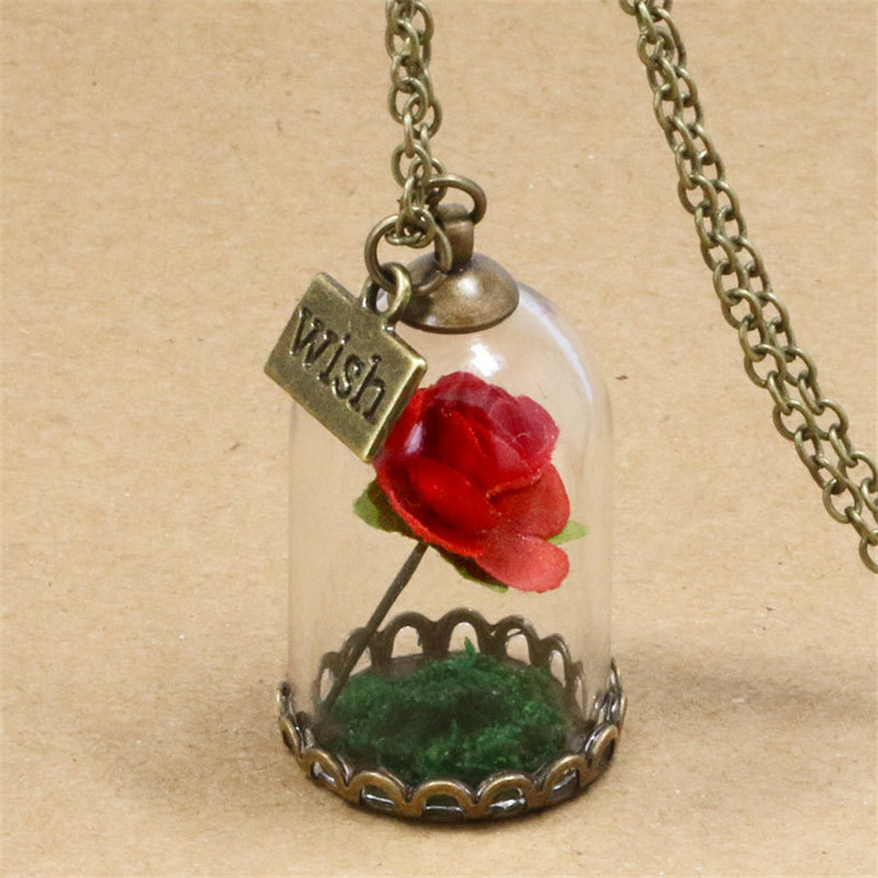 Beauty And The Beast Necklace Rose Dried Flowers Glass Necklace For Women Red Roses Wish The Little Prince Pendant Necklace Pendant Necklaces Aliexpress