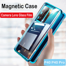 360 Full Magnetic Phone Case For Huawei P40 5G P40 Pro Coque Mate 30 20X Glass Metal Bumper Honor 30S 10 9X V20 V30 8X MAX Case leather texture matte mobile phone case for huawei honor 30 v30 pro 30s 30 v30 v20 20i 20 10 9x 8x note10 phone cover