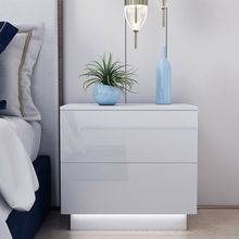 Bedside Table Cabinet-Storage Bedroom Furniture Led Nightstand Modern Organizer Magazine