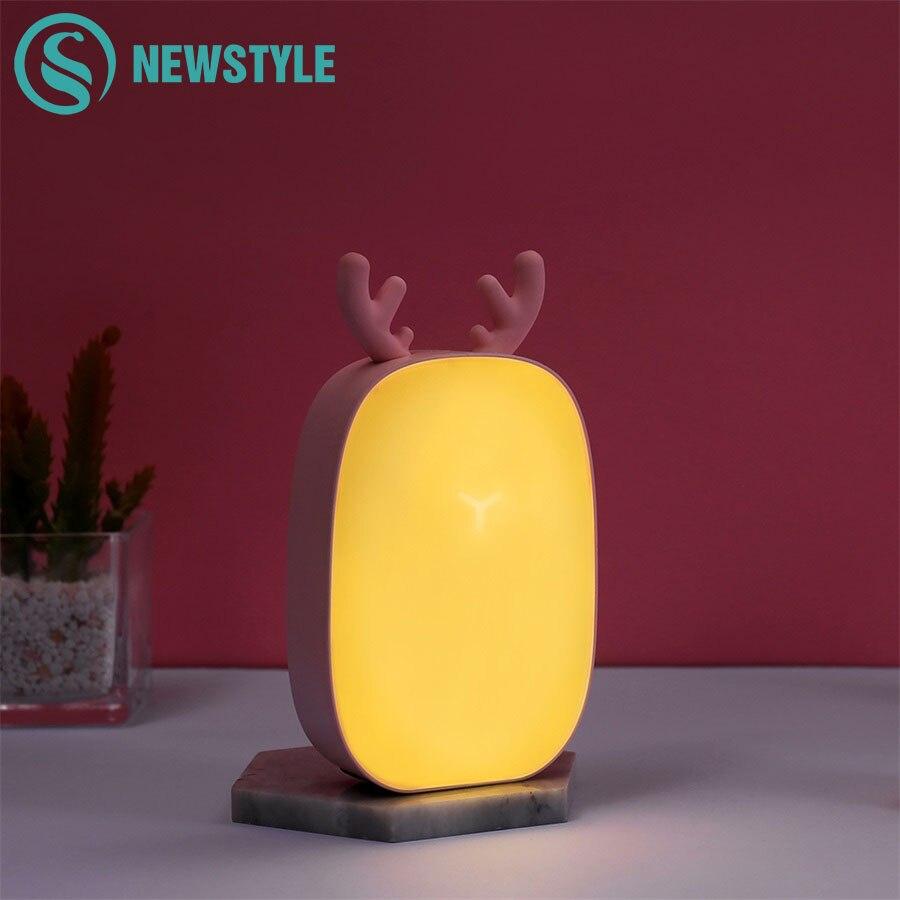 USB Rechargeable veilleuse cerf tactile Table lampe de bureau pour bébé enfants noël cadeau d'anniversaire blanc/blanc chaud nuit lampes
