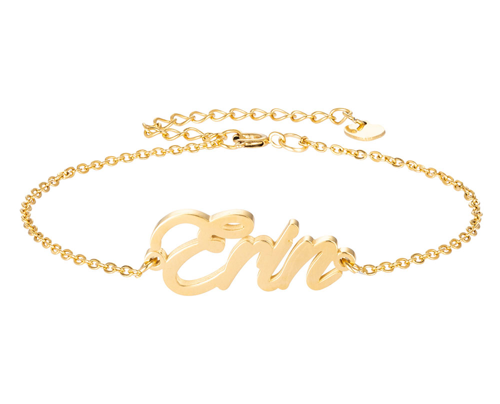 Эррин имя браслет для женщин, ювелирные изделия для девушек, из нержавеющей стали, покрытой 18k позолоченный кулон-табличка с именем Femme Mother, п...