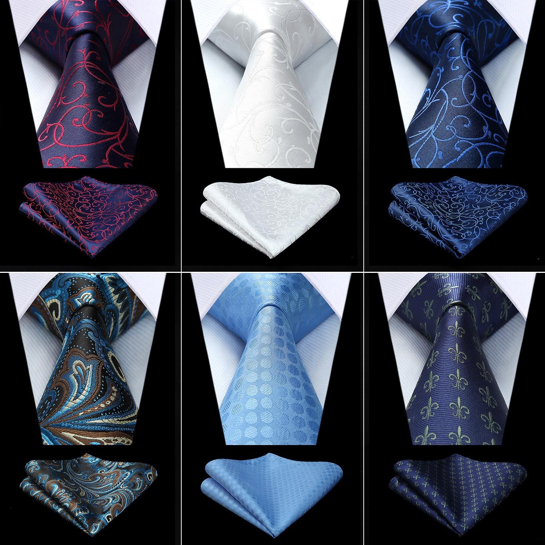 Party Wedding Mens Fashion Paisley Floral Woven Silk Necktie Handkerchief Set