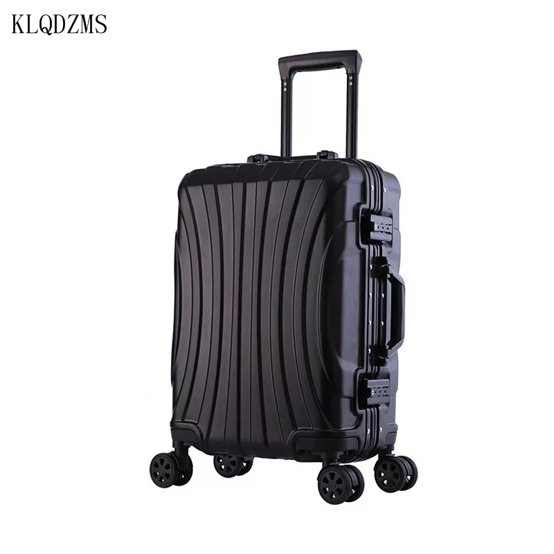 KLQDZMS Business Aluminum Frame Rolling Luggage Spinner 20 Inch Cabin Suitcase Wheels Travel Bag Men Trolley 22