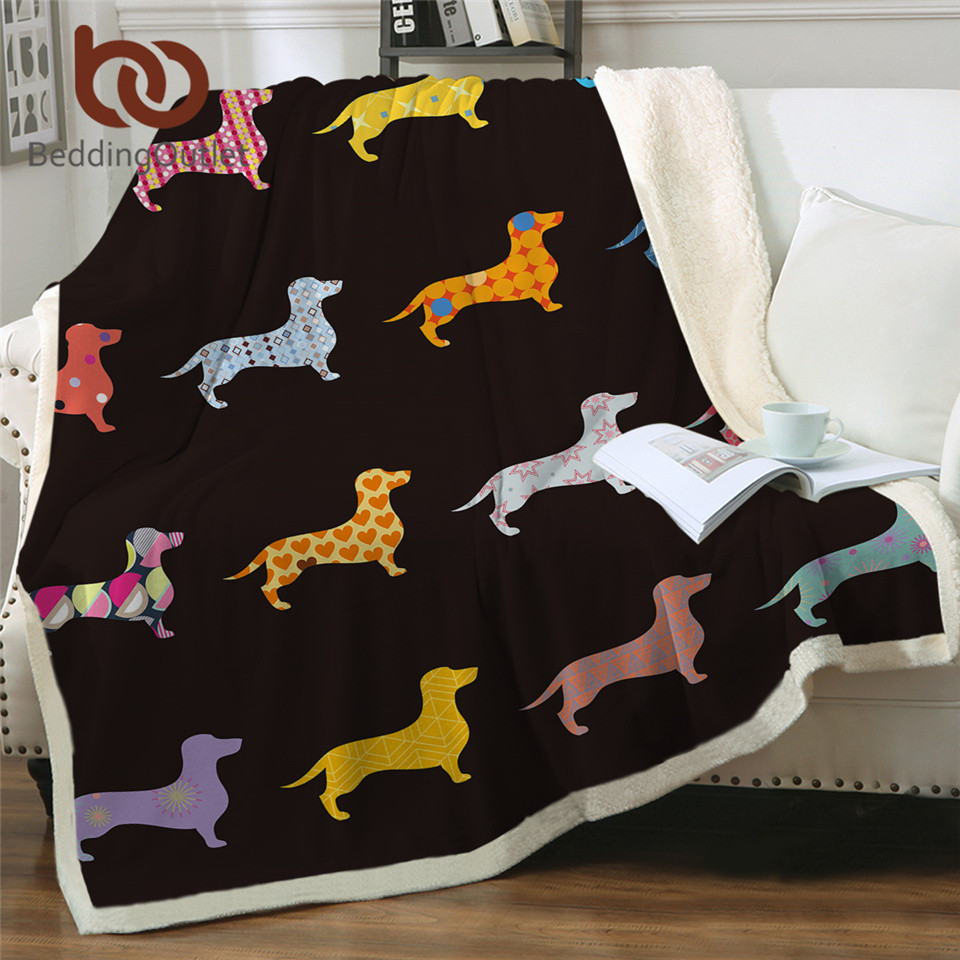 BeddingOutlet Dachshund Sherpa Fleece Blanket Cartoon Colorful Plush Throw Blanket For Kid Adult Dog Puppy Thin Quilt Drop Ship