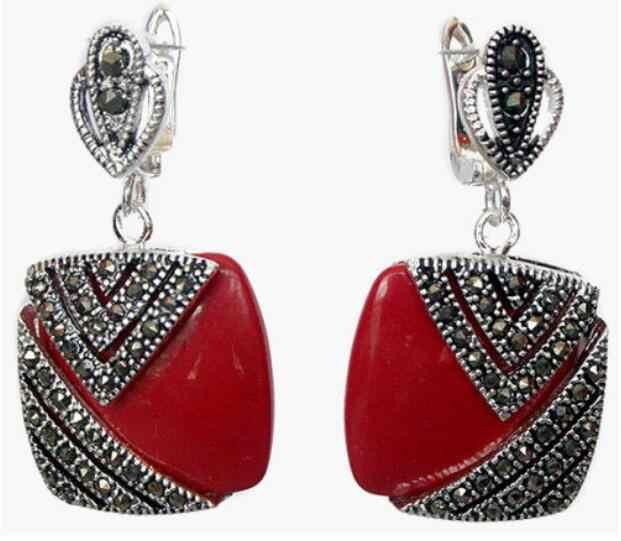 เครื่องประดับชุดไข่มุก Noble Red Lacquer แกะสลัก Marcasite 925 เงินสเตอร์ลิงแหวน (#7-10) ต่างหูและจี้ JE จัดส่งฟรี