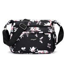 2019 Designer Handbags Luxury Women Flower Butterfly Printed Waterproof Nylon Shoulder Bags Retro Crossbody Bag Bolso sac a main