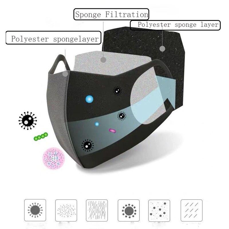 Image 3 - 6 шт. моющаяся маска для лица с ушной петлей для езды на  велосипеде, защита от пыли, Экологичная маска для лица, хирургический  респиратор, модная черная маскаМаски