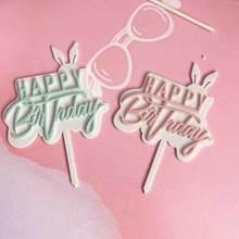 Акриловое кроличье ухо торт, топперы, капкейки палочки для счастливого дня рождения для украшения детского душа поставщика
