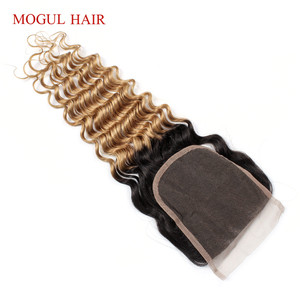 Image 4 - MOGUL HAIR Deep Wave 4*4 Lace Closure Natural Color 2, 4 Dark Brown 1B 27 Ombre Honey Blonde Indian Remy Human Hair