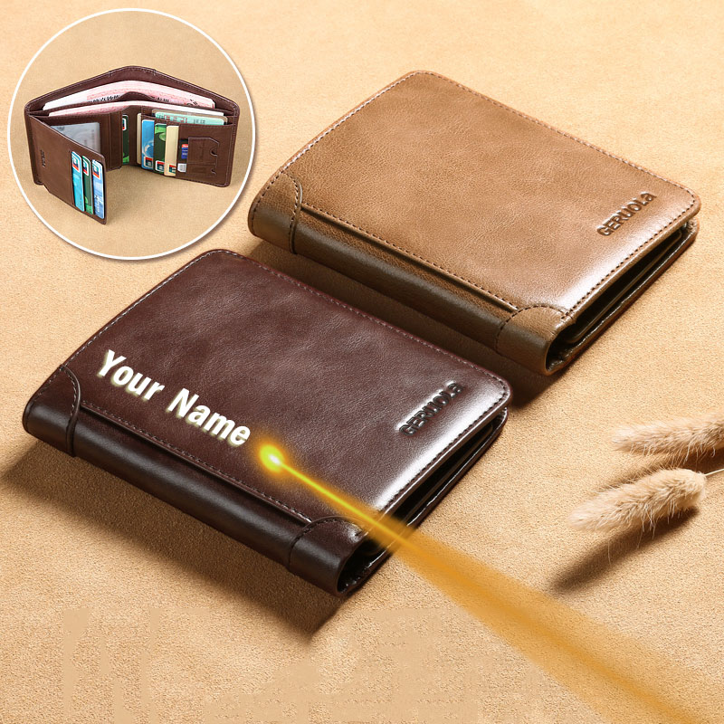 Free Shipping 100% Men Genuine Leather Rfid Wallet Card Holder Small Mini Male Walets Pocket Coin Purse Money Bag High Quatily