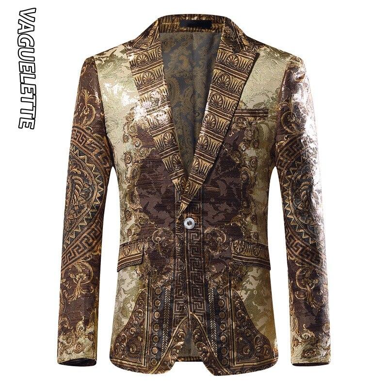 Vaguelette dorado Jacquard Blazer ajustado Blazer Masculino 2019 chaqueta de invierno para hombre Club DJ chaqueta para hombre chaqueta de escenario - 5