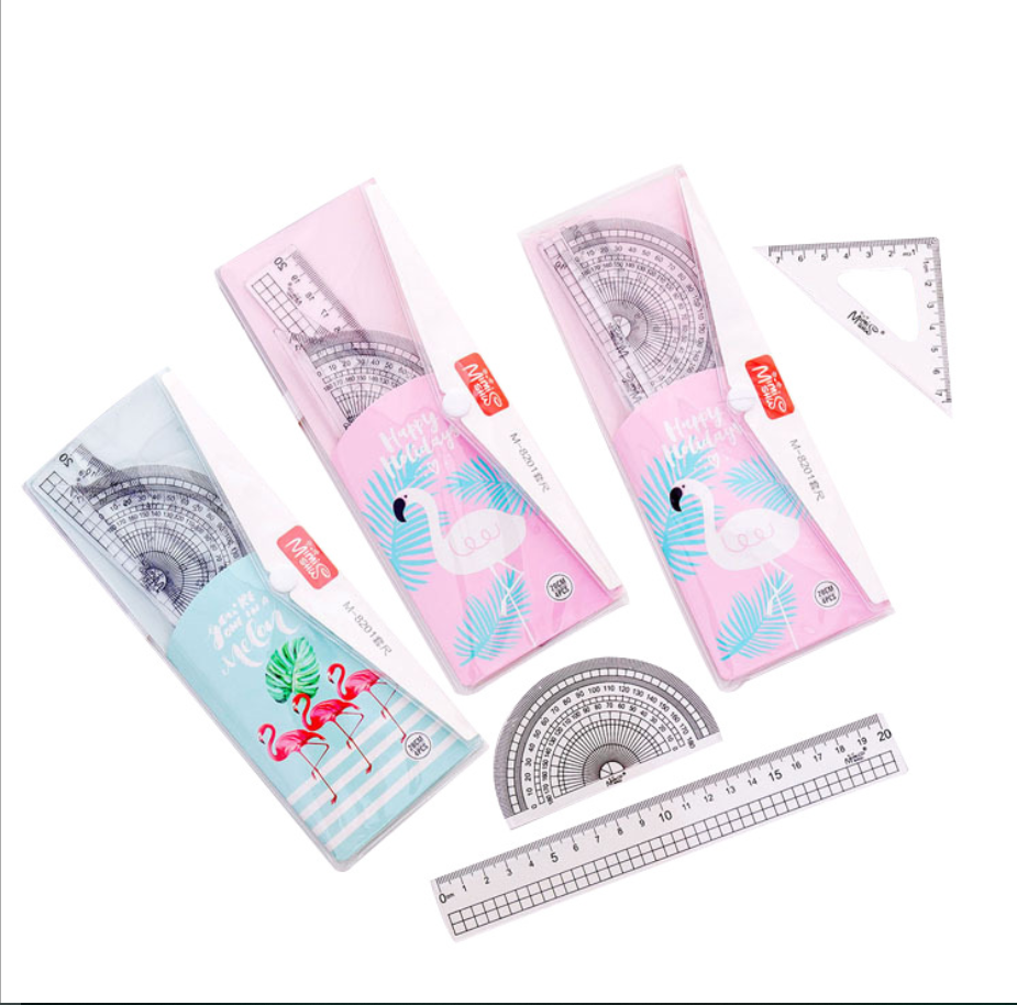 Plastic Measuring Tool Math Geometry Kit Set School Protractor 20cm Ruler School Supplies Items Office Stationary