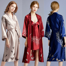 MS new Womens summer kimono robe ladies silk wedding pajamas bathrobe satin gowns home service M-XXL