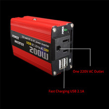 Universal 200W Car Power Inverter DC 12V To Ac 220v and Ac 110v Converter Usb Vehicle Charger Adapter Car Inverter Accessories multifunction 12v dc to 220v ac car power inverter black red