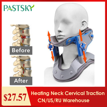 Heating Neck Cervical Traction Device Adjustable Collar Cervical Neck Stretcher Spine Corrector Neck Brace Support apparatus hanriver the new nursing waist yoga therapy tool strength support towing cervical traction apparatus