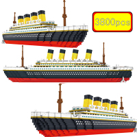 City Series 3800Pcs Diamond Mini Cruise Ship Titanic Model Famous Movies Educational Building Blocks Toys For Christmas Gifts