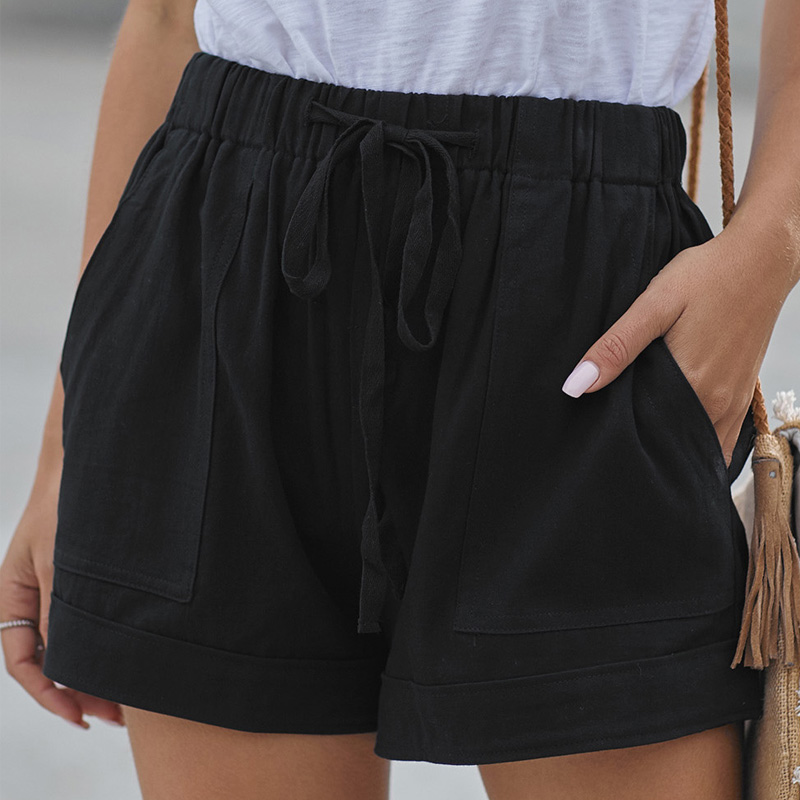 2020 Women Casual Shorts High Waist Plus Size Summer Beach Loose Shorts Comfy Drawstring Pocket Elastic Waist Black Shorts New