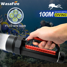 Powerful Super Bright LED Flashlight Underwater XM-L2 Scuba Torch Lamp Portable Waterproof Photography Video Diving Torch Lanter