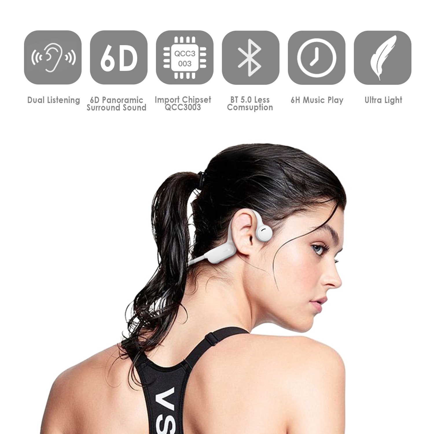 Bluetooth 5.0 <font><b>Wireless</b></font> Open <font><b>Ear</b></font> Headset Bone Conduction Headphones Neck Hook Music Player <font><b>Earphone</b></font> for Outdoor <font><b>Sports</b></font> Running image