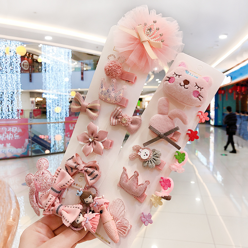 26 Pcs/Bag Children Cute Candy Cartoon Flower Hairball Ornament Hair Clips Girls Nylon Hairpins Kid Baby Lovely Hair Accessories