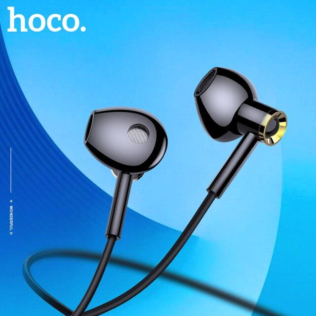 HOCO موضة عالية الجودة HD واضح سوبر باس ستيريو في الأذن سماعة أذن سلكية 3.5 مللي متر السلكية سماعة رأس مزودة بميكروفون آيفون XS شاومي