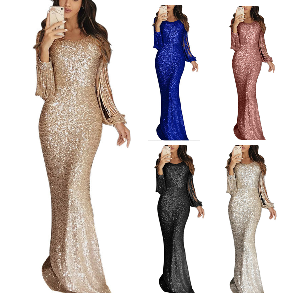 Wipalo Women Long Sleeves Tassel Sequins Evening Party Dress Ladies Cold Shoulder Sexy Bodycon Maxi Dress Robe Femme Vestidos
