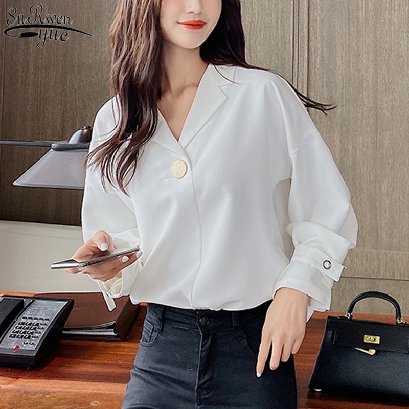 Sweet Long Sleeve Chiffon Blouse Autumn New Office Lady Style Women' Shirts White Blusas Mujer Korean Vintage Top Female <font><b>10697</b></font> image