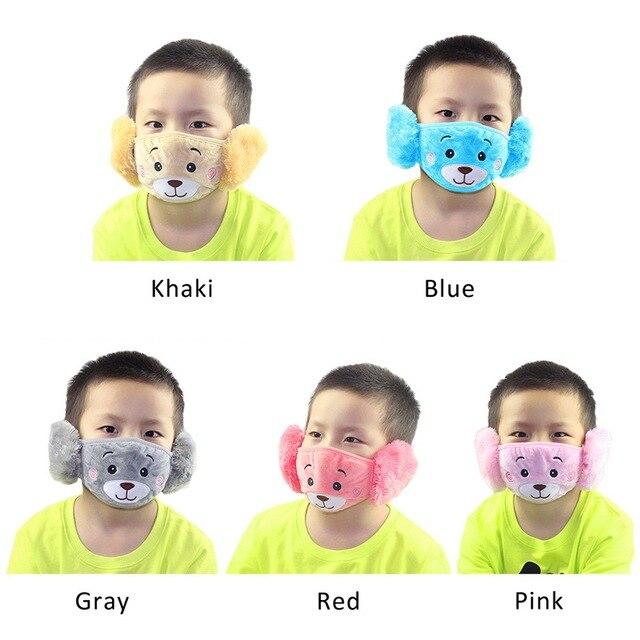 Cute bear Ear Protective Kid Mouth Mask Flu Windproof Mouth-muffle Anti Dust Winter Masks Children Anti Haze Cotton Face Mask 3